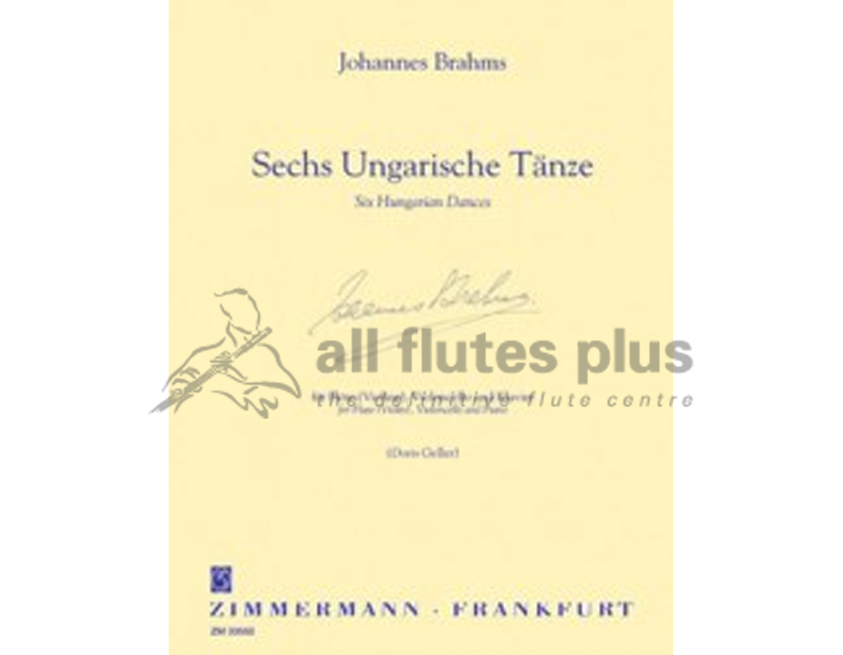 Brahms Six Hungarian Dances for Flute Cello and Piano