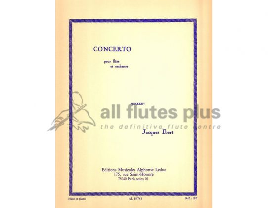 Ibert Flute Concerto-Flute and Piano Reduction-Leduc