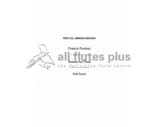 Poulenc Flute Sonata-Full Orchestral Score-Chester
