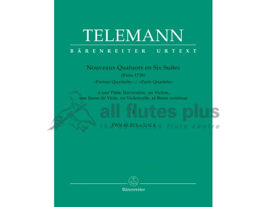 Telemann Paris Quartets Volume 1-Barenreiter Edition