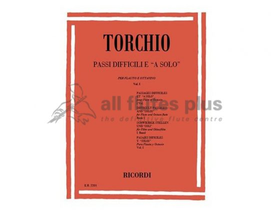 Torchio Difficult Passages for solo flute and piccolo volume 1-Ricordi