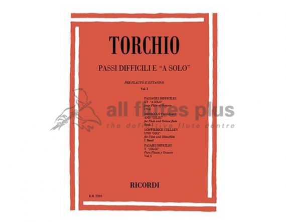 Torchio Difficult Passages for solo flute and piccolo volume 1-Ricordi