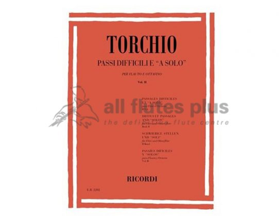 Torchio Difficult Passages for solo flute and piccolo volume 2-Ricordi