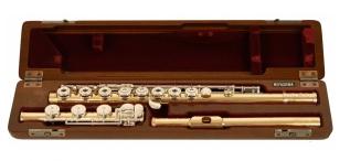 Miyazawa BR2 9k Gold Tubing and Silver Mech Secondhand Flute-c7300