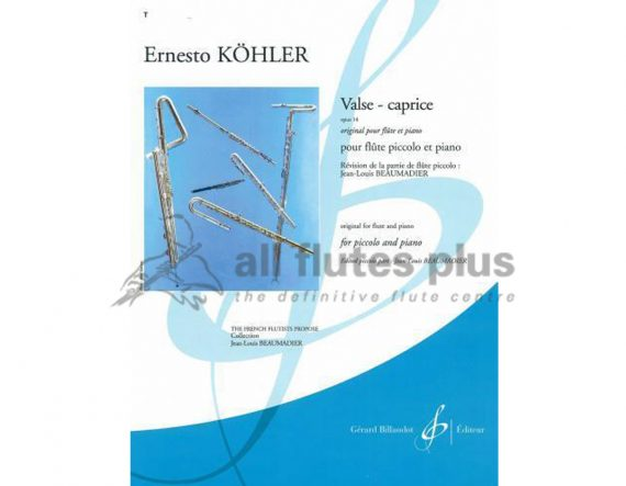 Kohler Valse Caprice Opus 14-Piccolo and Piano-Billaudot