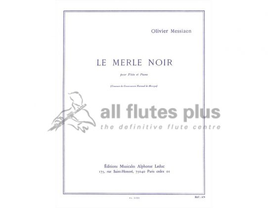 Messiaen Le Merle Noir-Flute and Piano-Leduc