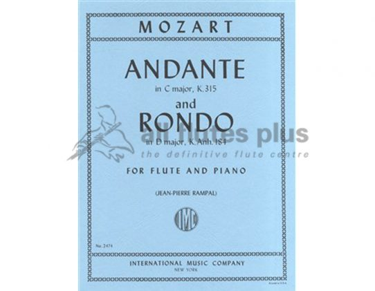 Mozart Andante In C K315 and Rondo In D-Flute and Piano-IMC