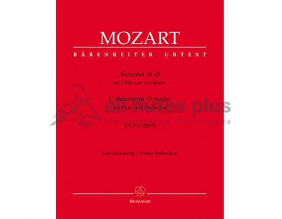Mozart Concerto No 2 in D Major KV314-Flute and Piano-Barenreiter