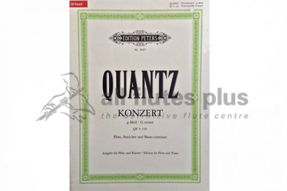 Quantz Concerto in G Minor QV5 193-Flute and Piano-Peters