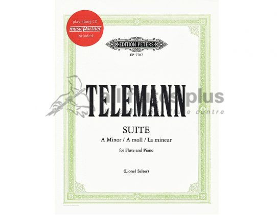Telemann Suite in A Minor-Flute Piano and CD-Peters Edition