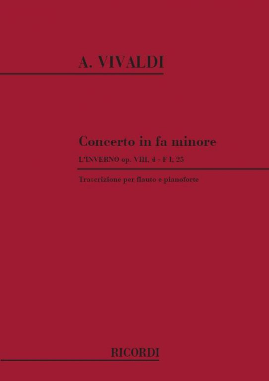 Vivaldi Concerto in F Minor-Flute and Piano-Ricordi