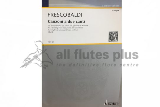 Frescobaldi Canzoni a due canti-Two Flutes and Basso Continuo-Schott