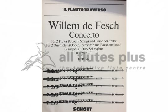 Willem de Fesch Concerto-2 Flutes, Strings and Basso Continuo-Schott