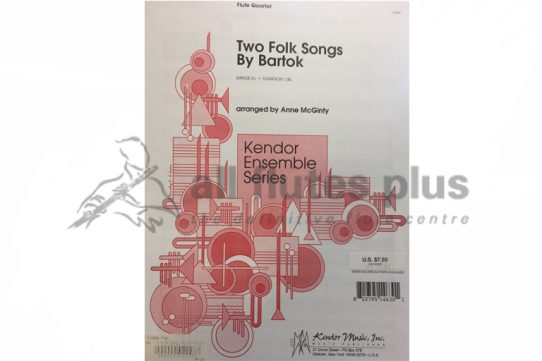 Bartok Two Folk Songs-Flute Quartet-Kendor Ensemble Series