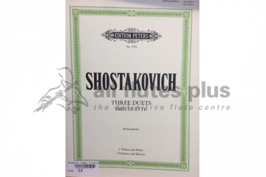 Shostakovich Three Duets-2 Violins and Piano-Peters