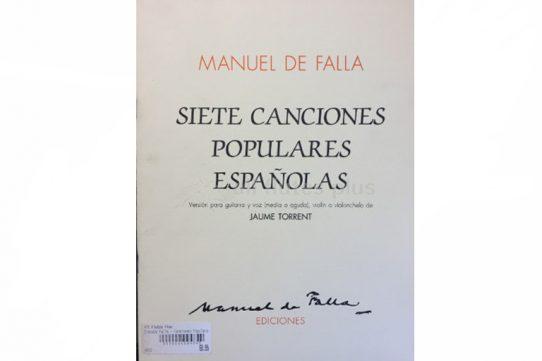 Manuel De Falla Siete Canciones Populares Espanolas-Flute and Guitar