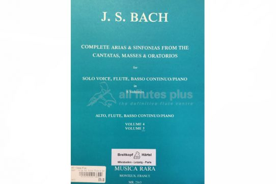 JS Bach Complete Arias and Sinfonias the Cantatas Masses and Oratorios for Alto Voice-Breitkopf