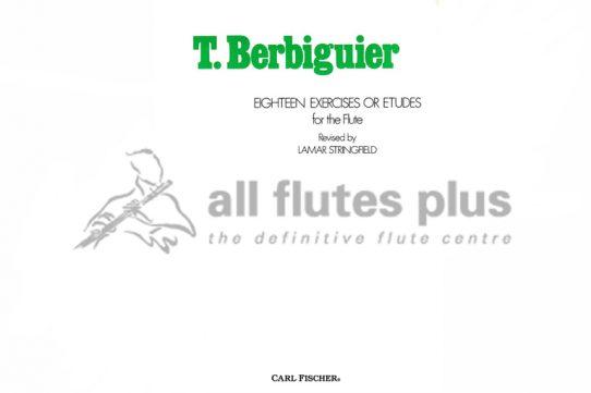 Berbiguier 18 Exercises or Etudes for the Flute-Carl Fischer