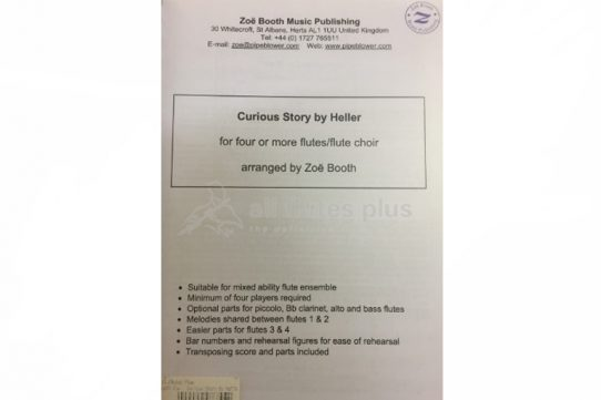 Heller Curious Story-Arr Zoe Booth-Four of more flutes/Flute Choir-Pipeblower Publishing