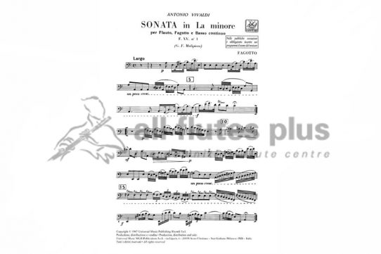 Vivaldi Sonata in A Minor No.1-Flute, Bassoon and Basso Continuo-Ricordi