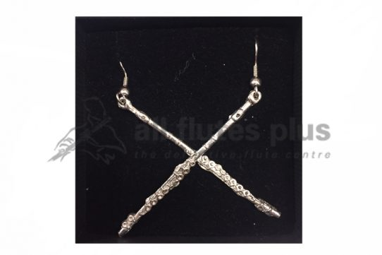 Pewter Flute Earrings