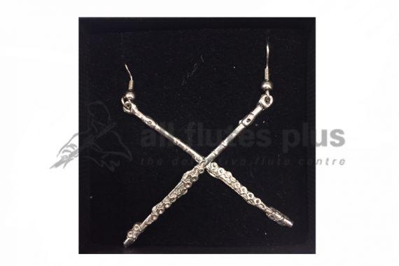 Pewter Flute Earrings