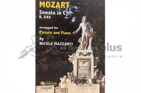 Mozart Sonata in C K545-Piccolo and Piano-Arr Mazzanti-Theodore Presser