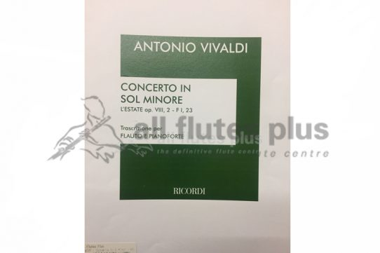 Vivaldi Concerto in G Minor L'Estate Op 8-Flute and Piano-Ricordi