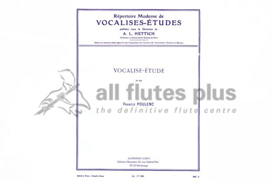 Poulenc Vocalise Etude No 89-Flute and Piano-Leduc
