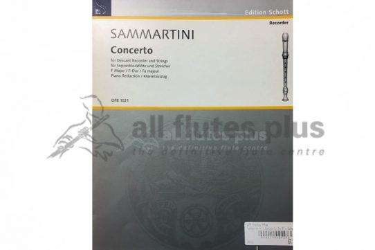 Sammartini Concerto in F Major-Descant Recorder and Piano-Schott
