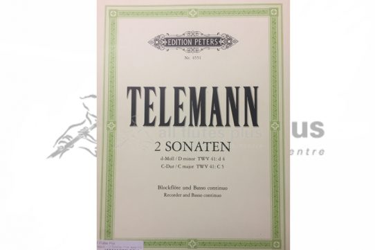 Telemann 2 Sonatas-D Minor and C Major-Flute and Basso Continuo-Edition Peters