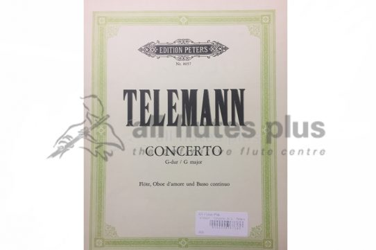 Telemann Concerto in G Major-Flute, Oboe D'Amore and Basso Continuo-Edition Peters