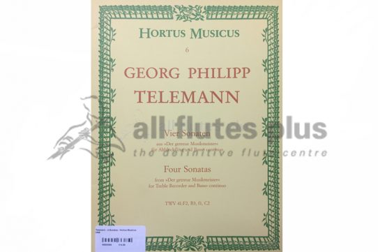 Telemann Four Sonatas-Flute and Basso Continuo-Hortus Musicus