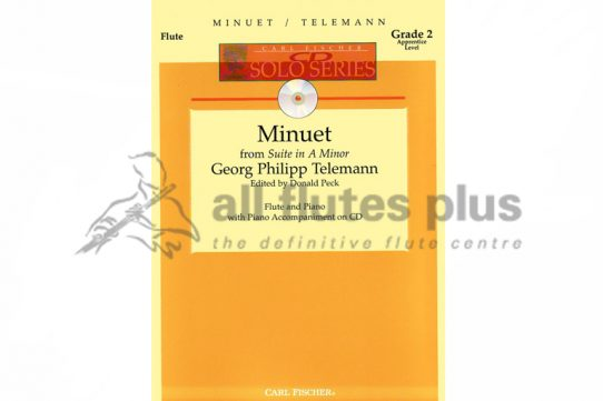 Telemann Minuet from Suite in A Minor-Flute and Piano with CD-Carl Fischer