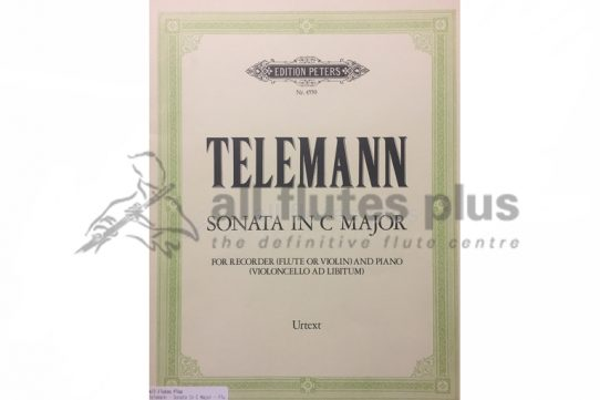 Telemann Sonata in C Major-Flute and Piano-Edition Peters
