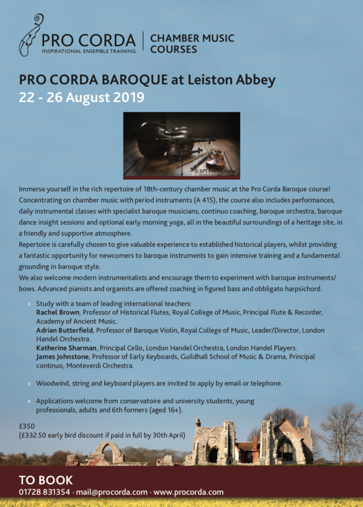 Pro Corda Baroque Chamber Music Course at Leiston Abbey with Rachel Brown-22-26th August 2019