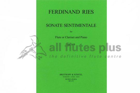 Ries Sonata Sentimentale Op 169-Flute or Clarinet and Piano-Breitkopf