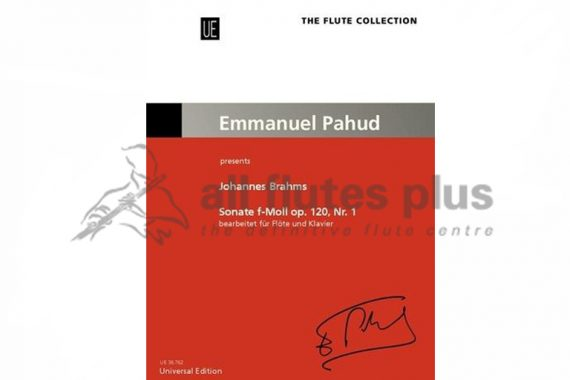 Brahms Sonata in F Minor Op 120 Nr 1-Flute and Piano-Arr by Pahud Presents-Universal Edition