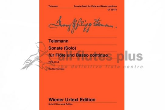 Telemann Sonata from 'Tafelmusik' TWV 41:h4-Flute and Basso Continuo-Wiener Urtext Edition