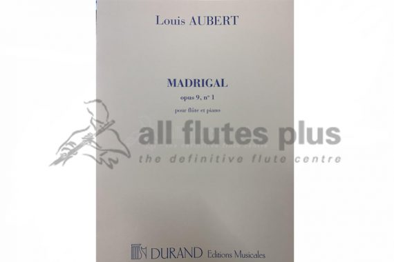 Aubert Madrigal Opus 9 No 1-Flute and Piano-Durand