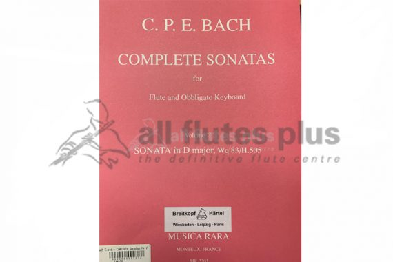 CPE Bach Complete Sonatas Volume 4-Flute and Obligato Keyboard-Musica Rara