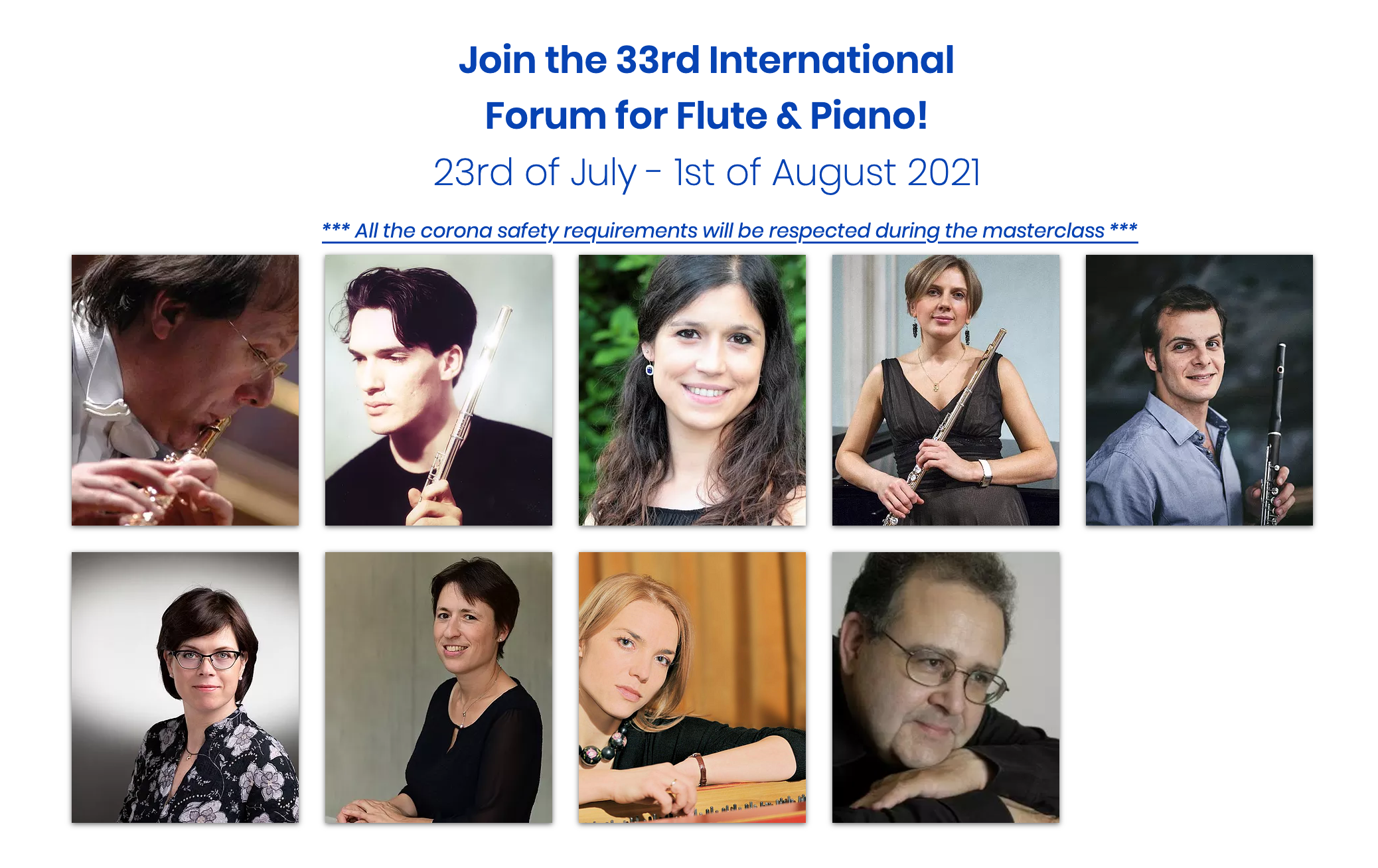 33rd Forum International for Flute and Piano-23rd July-1st August 2021