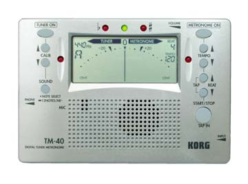 Korg TM50 Silver Chromatic Combo Tuner and Metronome